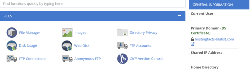 The Bluehost's control panel to manage your hosting account with icons for various options like Images and File Manager.