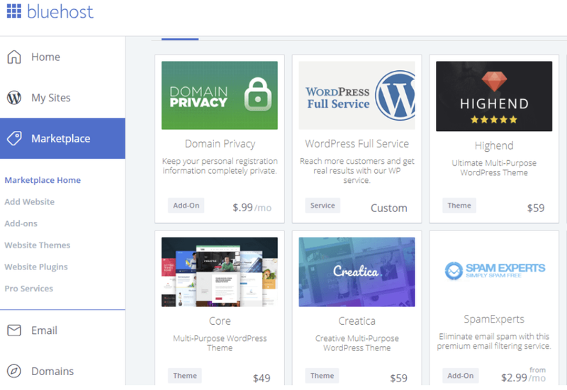 The Bluehost marketplace for apps and integrations with various add-ons listed in a grid.