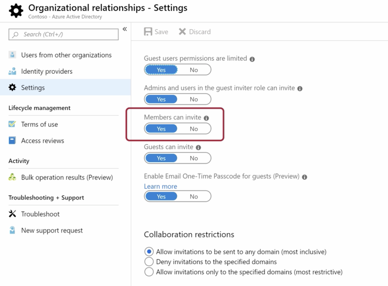 The SharePoint relationships settings page showing toggles to enable different levels of guest access and permissions.