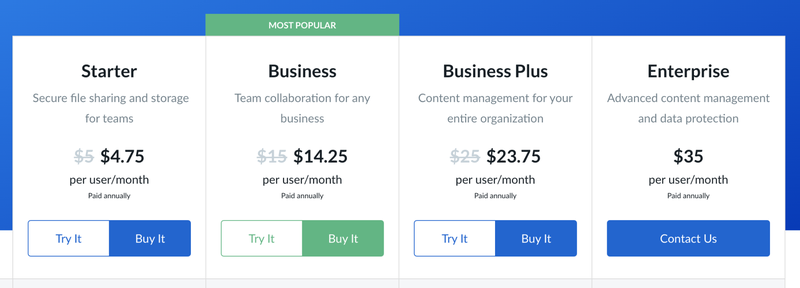 The four tiers of paid Box plans.
