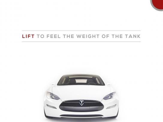 Tesla advertisement with copy at the top and a picture of a white Tesla vehicle at the bottom.