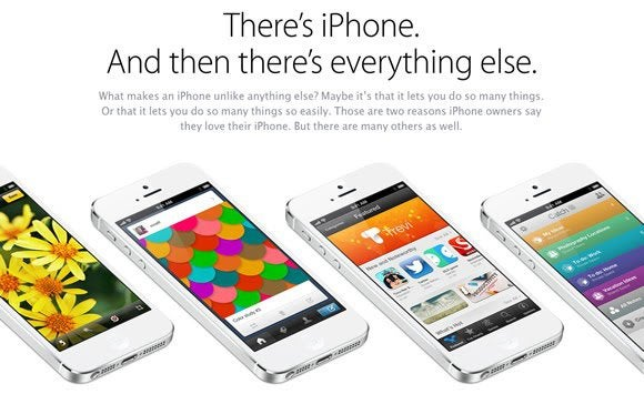 Apple iPhone ad showing text at the top and a row of iPhones at the bottom.