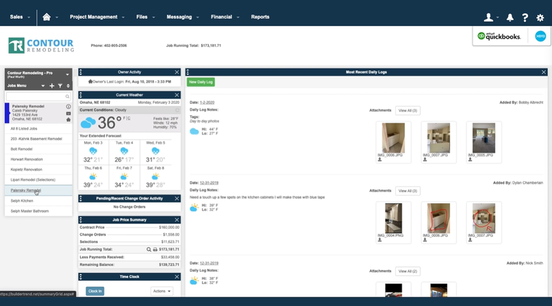 Buildertrend's project dashboard