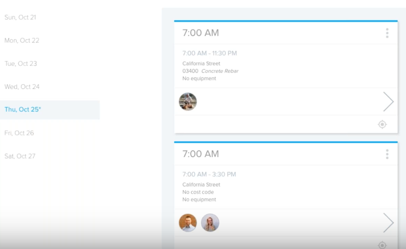 busybusy time clock schedule feature with dates on the left and day broken down by hour on the right