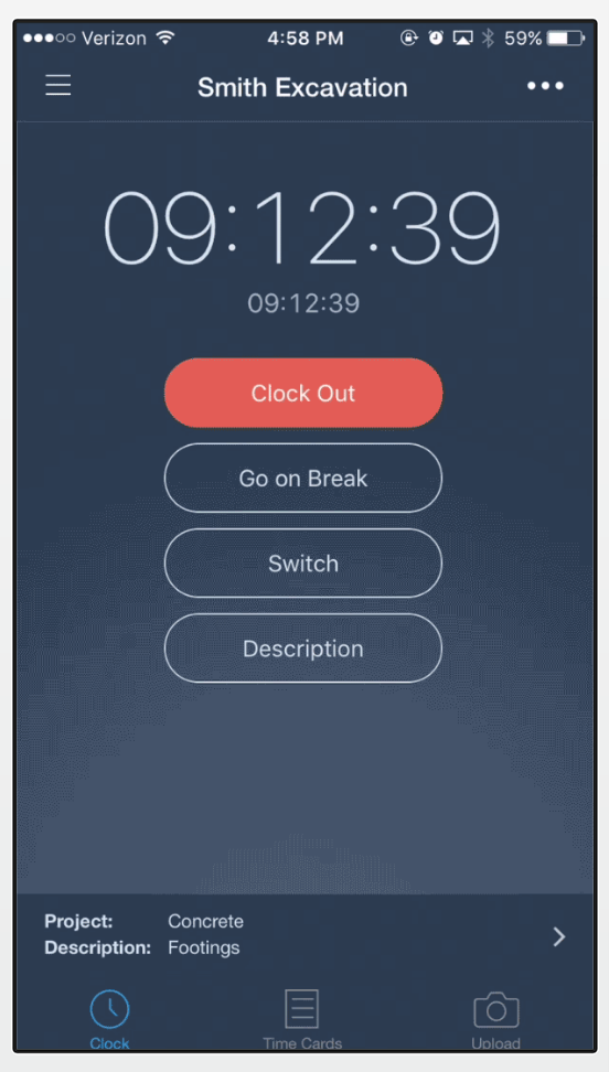busybusy clock feature to clock in on your mobile phone