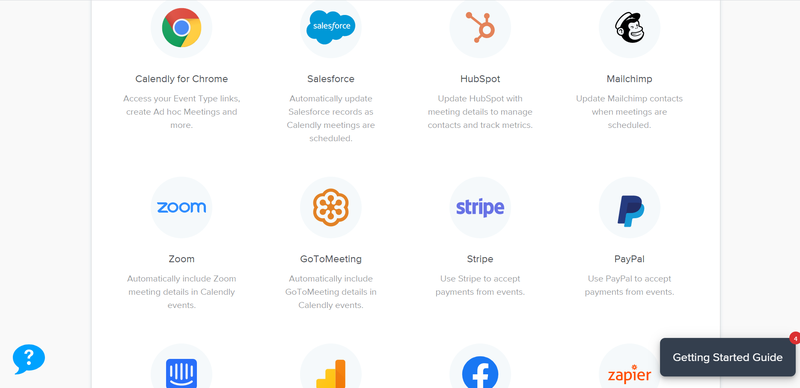 Calendly integrations listed on a webpage.
