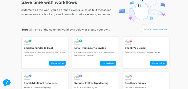 Calendly Workflows options on a webpage.