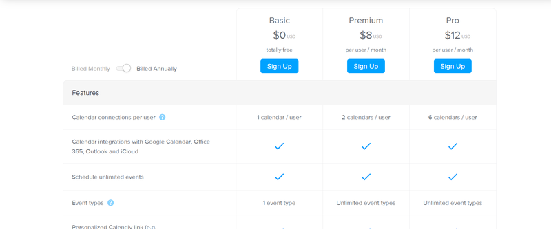 Calendly pricing plans displayed on a computer screen.