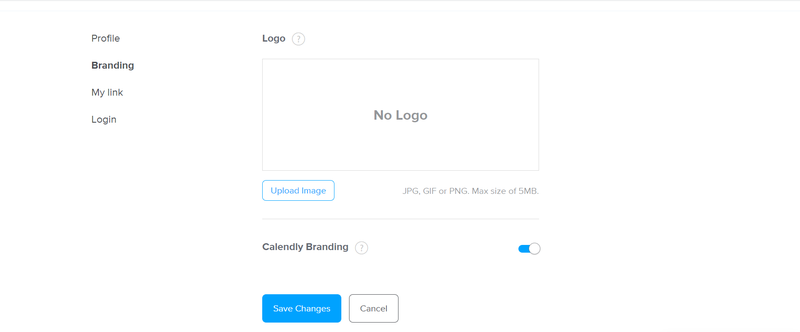 Calendly logo and branding options displayed on a webpage.