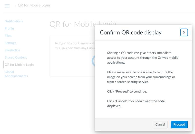 Confirmation window to download a QR code.