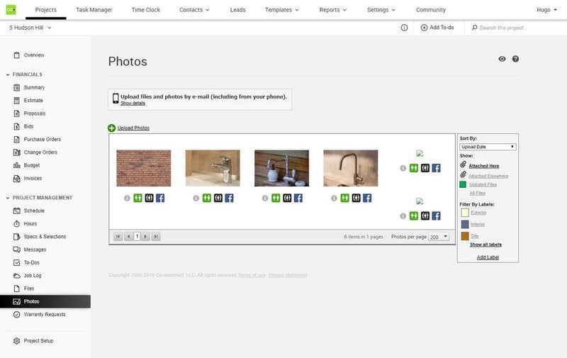 CoConstruct's share photos interface