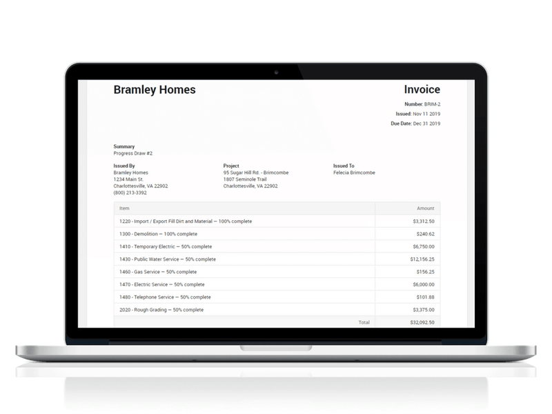 CoConstruct's invoicing feature