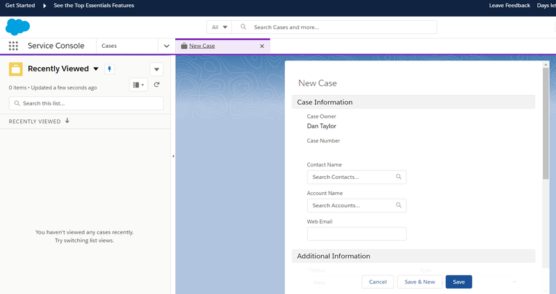 Screenshot of Salesforce CRM case management features