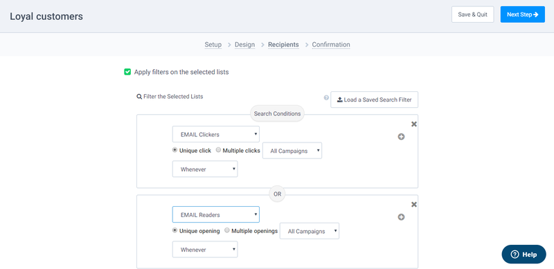Sendinblue lets you segment your email list according to multiple criteria.