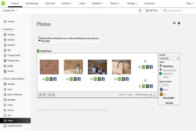 CoConstruct's photo management dashboard