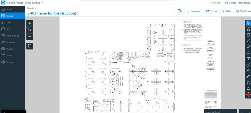 PlanGrid's blueprint editing tool