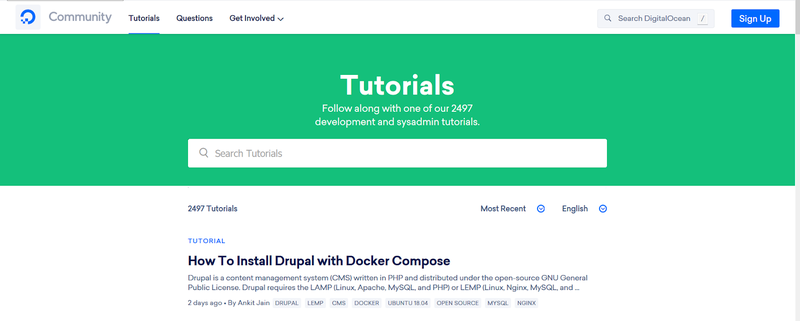 Digital Ocean's tutorials home page