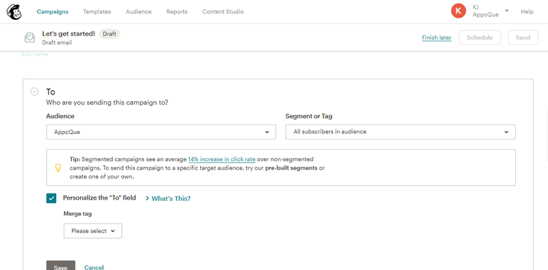 Mailchimp's email editor with tips on how to use the functionality.