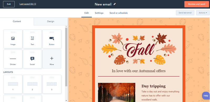 HubSpot's email editor with a fall email newsletter template.