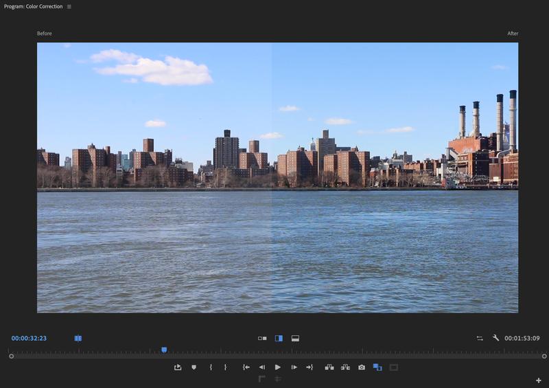 Comparison view in the program monitor of Premiere Pro.