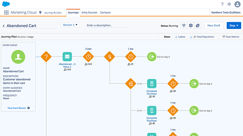 "Salesforce CRM showing a ""Journey"" automation in the platform with different triggers and filters."