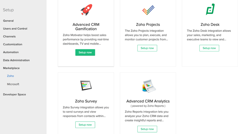 Zoho CRM screen showing different integration options.