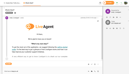 LiveAgent message screen showcasing the task tabs feature