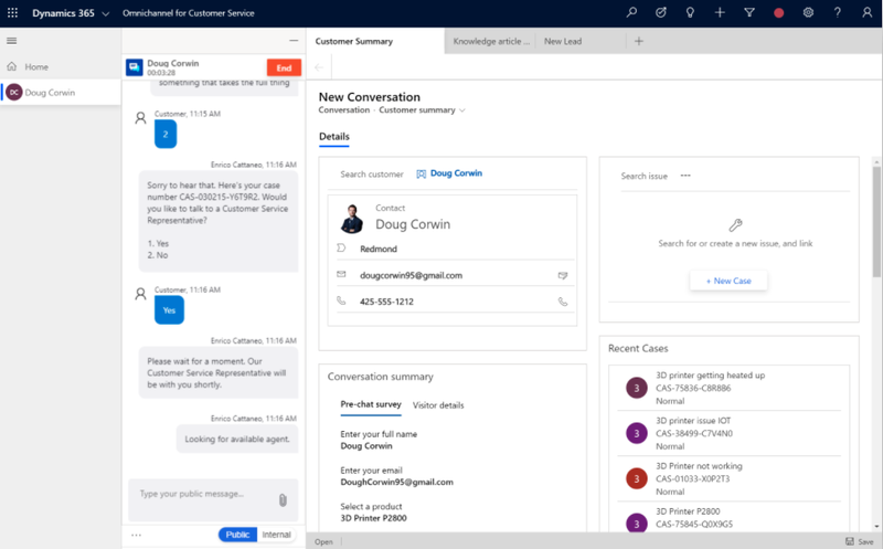 Microsoft Dynamics 365 customer chat, resource support, and knowledge base search in one window.