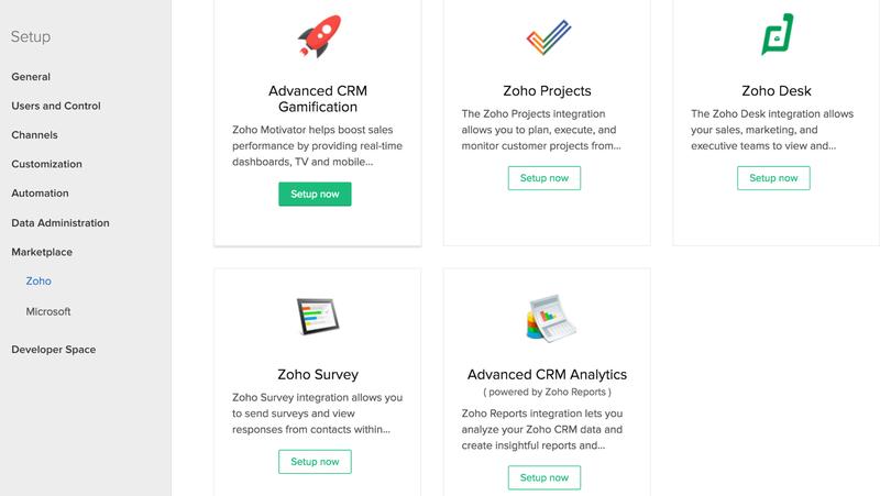 Zoho CRM Setup menu