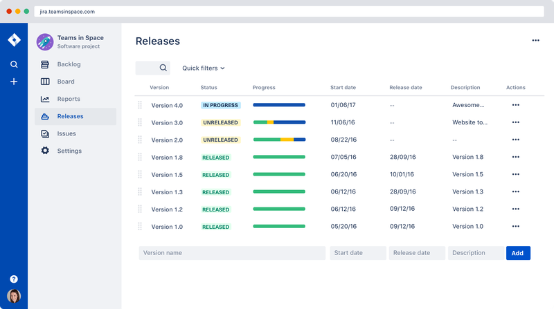 Screenshot of the Releases page in Jira Software shows a list of version numbers with corresponding dates, descriptions, and status updates.