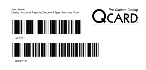 An example QCard with two stacked barcodes.