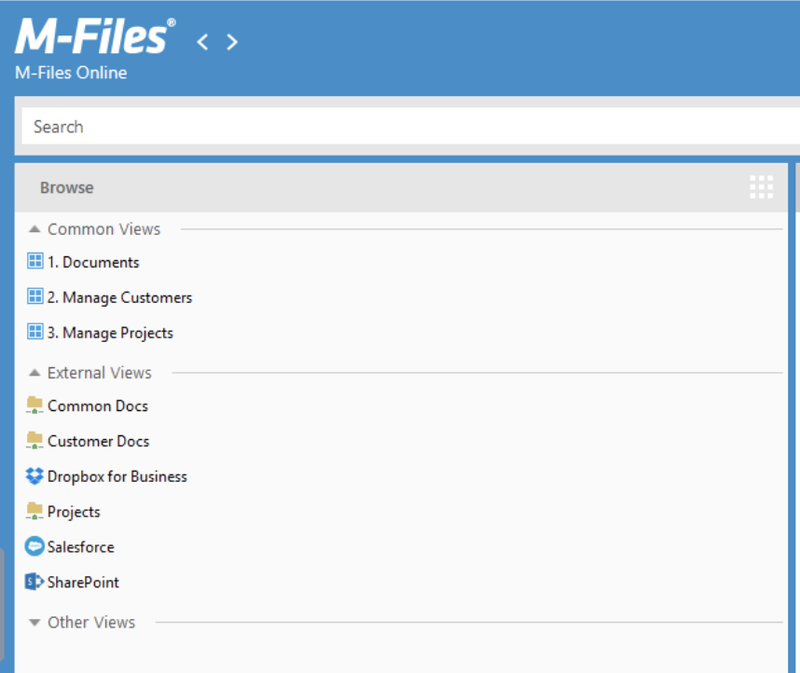 The M-Files search bar and browse feature.