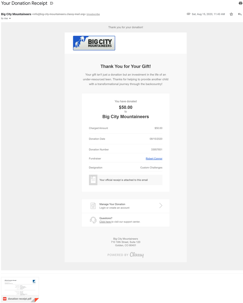 An emailed donation receipt from Big City Mountaineers, addressed to the author of this article, displaying basic donation receipt information along with an attached PDF of an official donation receipt.