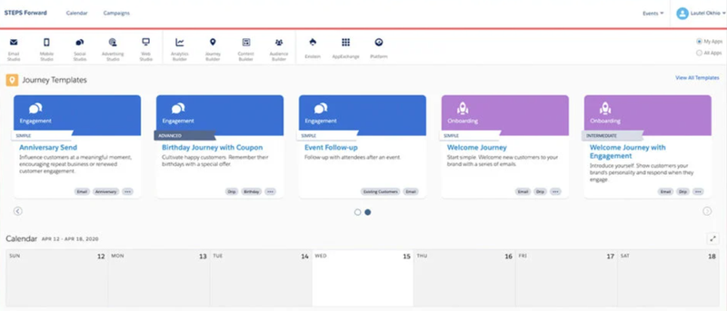 Screenshot of the Salesforce platform shows five templates for different stewardship activities and a calendar to use for timeline planning.