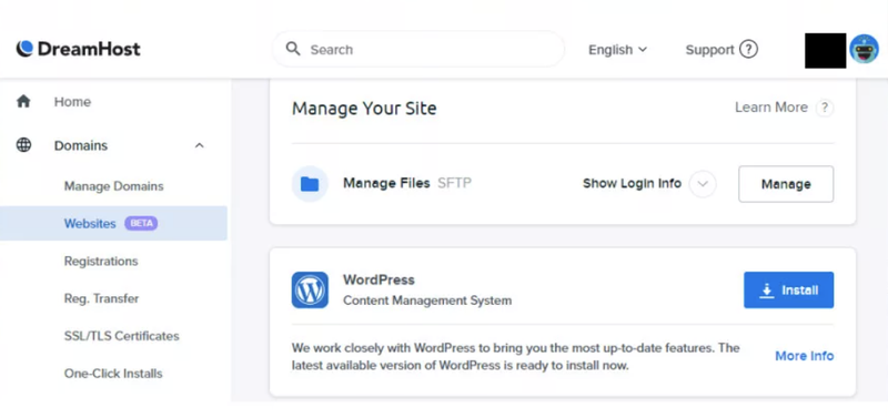 The screen to install the WordPress integration.
