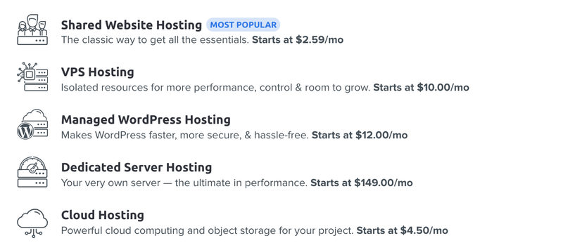 DreamHost's various plan options for web hosting.