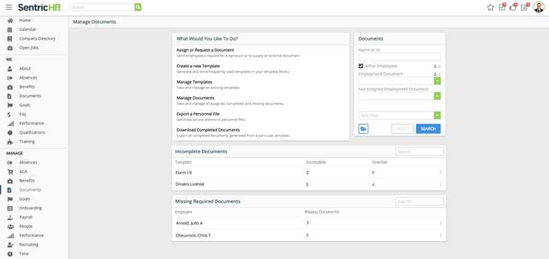 A screenshot of SentricHR's document management functionality.