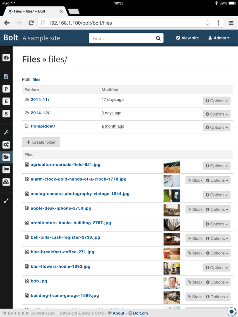 The file repository of media in Bolt CMS.