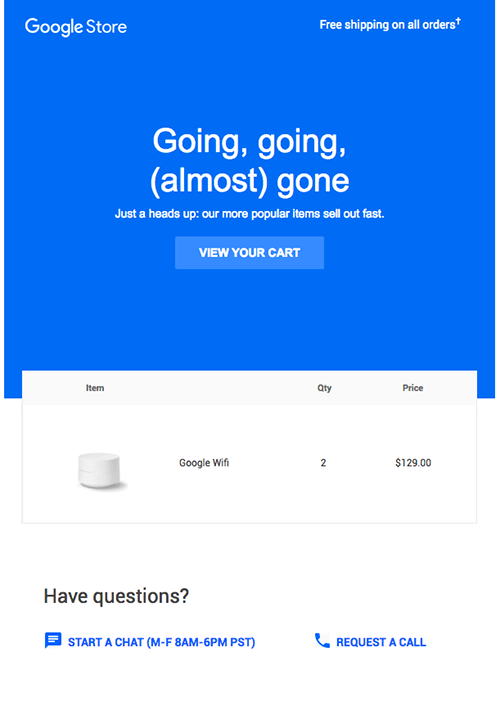 Google Store email with image of Google Wifi.