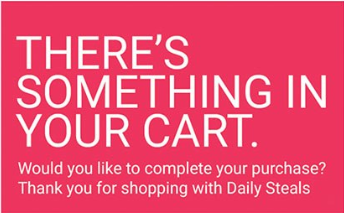 A screenshot of an abandoned cart promotion for shoppers.