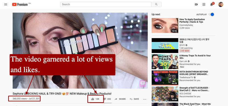A screenshot of a Sephora collaboration with YouTuber Shaaanxo for an unboxing video.