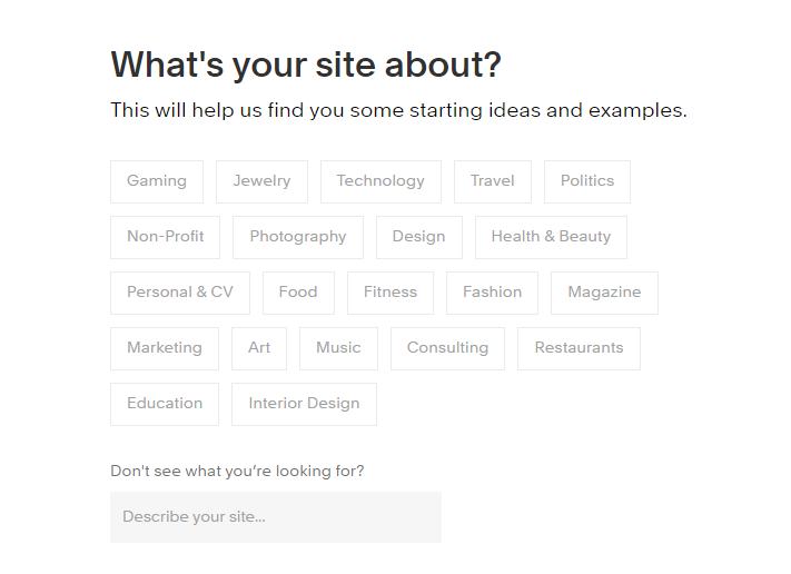 Squarespace Commerce's initial options for selecting the store industry.