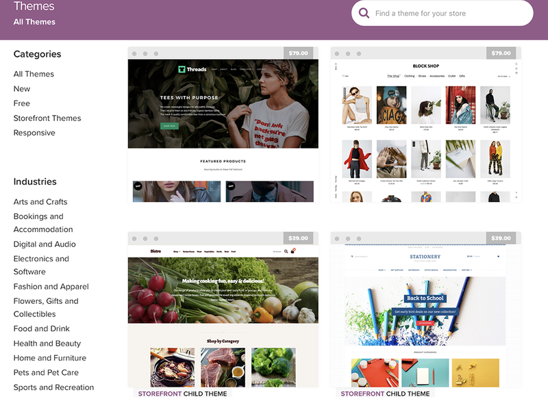 A screenshot of the WooCommerce themes section.