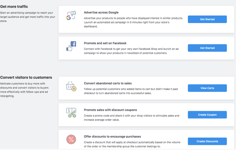 An Ecwid screenshot of marketing options including coupons, Google advertising, cross-channel social selling and more.