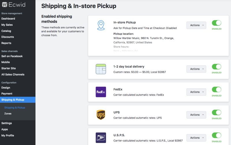 Ecwid's shipping hub showing options for in-store pickup, local delivery calculations, delivery services and more.