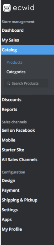 Ecwid's toolbar has navigation options for sales, reports, selling channels, settings, etc.
