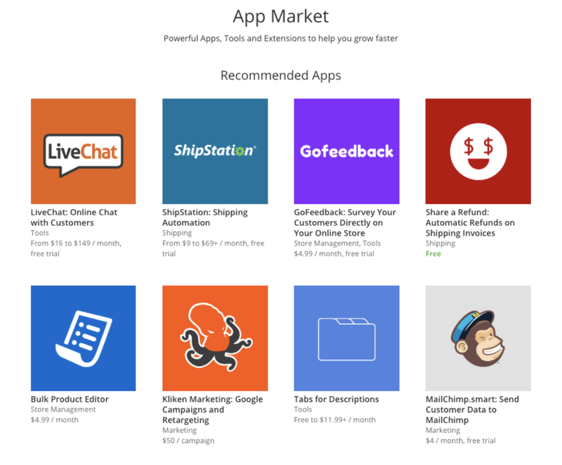 The app market on Ecwid shows recommended apps for marketing, chat, surveys and more.