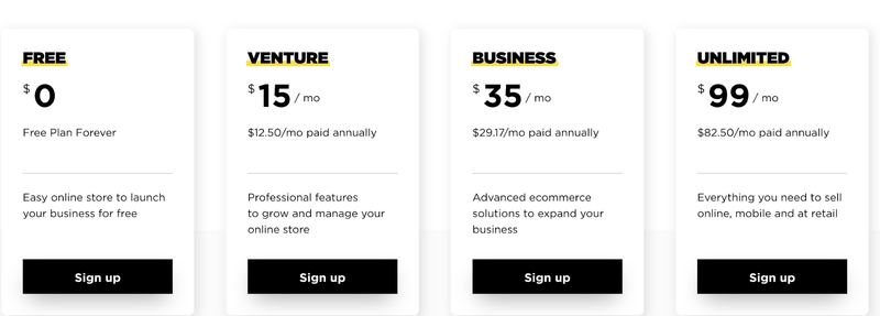 Screenshot of Ecwid's four pricing plan options: Free ($0/month), Venture ($15/month), Business ($35/month) and Unlimited ($99/month)