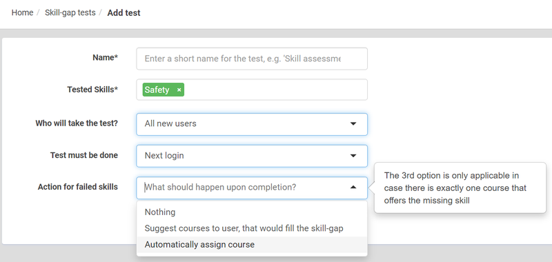 eFront's skill gap test settings featuring drop-down answer boxes.