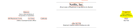 Employer Identification Number on Netflix's recent 10-Q